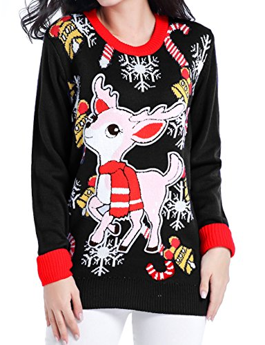 v28 Women Christmas Sweater, Ugly Cute Deer Vintage Knit Xmas Pullover Sweater (Medium, Deer&Bells (Cute Ugly Sweater)