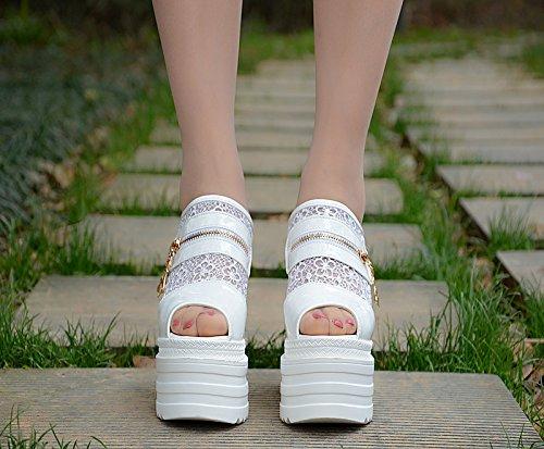 grueso Blanco tacon Zapatillas en el 13 alto de fondo nuevo XiaoGao cm 4vOqTFB
