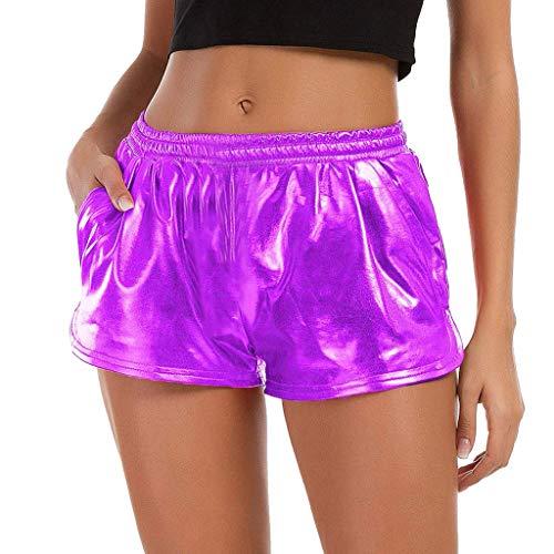 JJLIKER Women Bright Leather Stretch Waist Shorts Summer Sports Yoga Pants Super Fitness Casual Comfort Trouser Purple