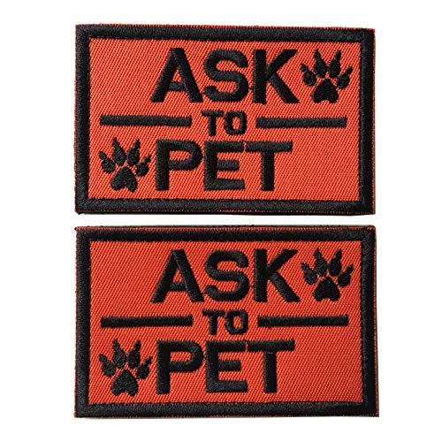 Set of 2 Service Dog/Ask to Pet Embroidered Tactical Morale Patch Badge for Dog Pet Tactical K9 Harness Vest (Ask to Pet Orange)