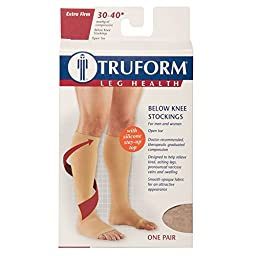 Truform Open Toe, Knee High 30-40 mmHg Compression Stockings, Beige, 3X-Large