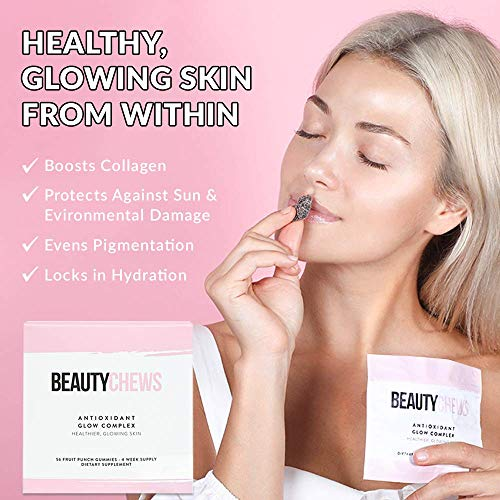 51QBgeJGPyL - Beauty Chews Antioxidant Supplement Gummies for Anti-Aging | Astaxanthin and Vitamin E | Boosts Skin Collagen, Repairs Skin Damage and Dark Spots for a Healthy Glow | 4 On-The-Go Weekly Gummy Pouches