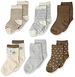 Rene Rofe Baby Baby Newborn and Infant 6 Pack Socks, Taupe, 12-24 Months