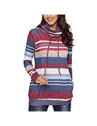 NXY Women's Long Sleeve Blue Multicolor Cowl Neck Striped Sweatshirt Tunics