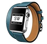 Watch Band for Apple – Double Tour/Wrap Genuine Leather Replacement Strap, with Stainless Steel Buckle Closure, Leisure, Wrist Band for iWatch Series – Unisex – Teal - 42mm by Spartan Watch Co.