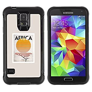 WAWU Rugged Armor Slim Protection Case Cover Shell -- Africa sign sun poster minimalist beige -- Samsung Galaxy S5 SM-G900