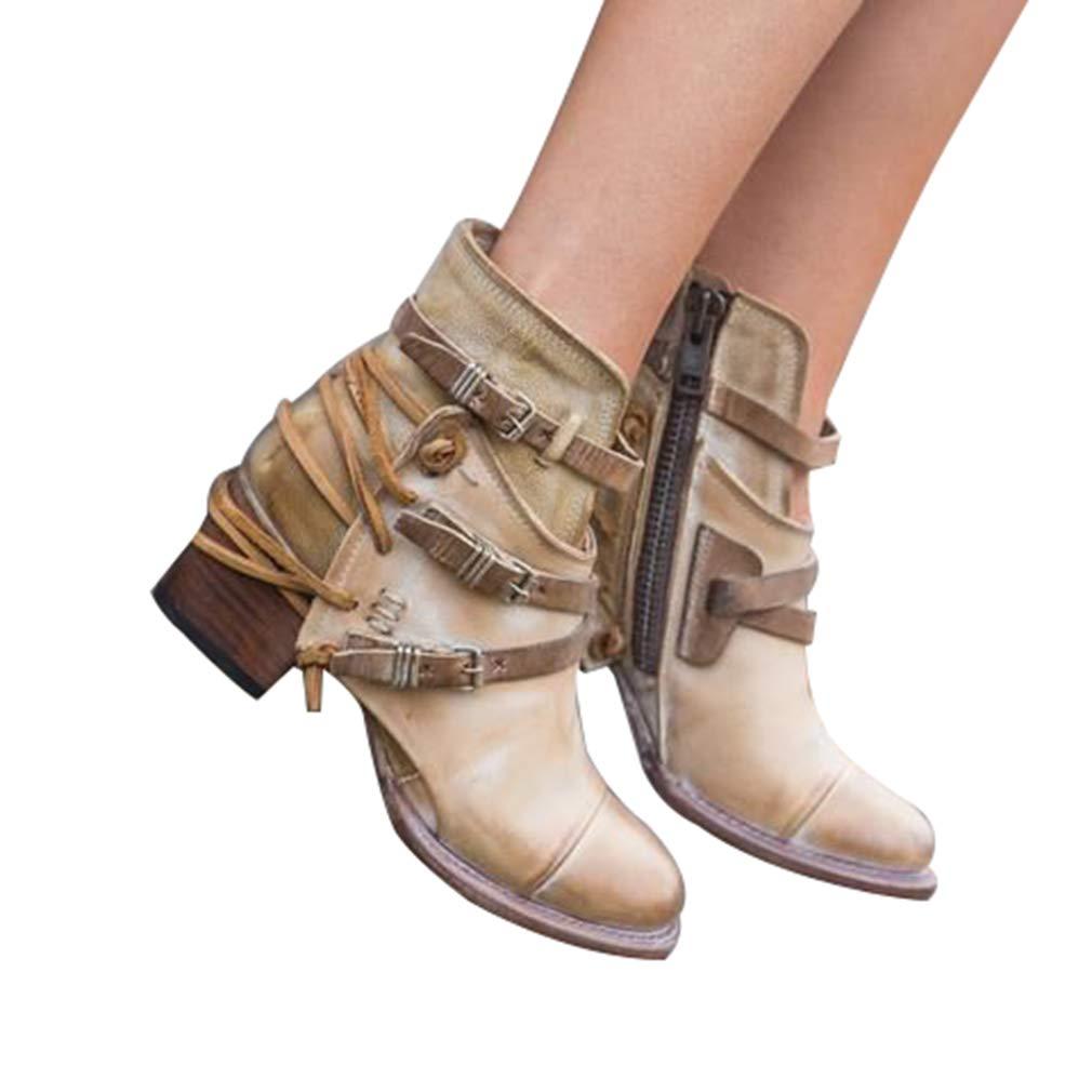 Mode Bottes en Cuir pour Femmes - Confortables Couleur Unie Fermeture Eclair Talon Bloc Bottine Mode Pointus Bottes Chaussures pour Automne et Hive