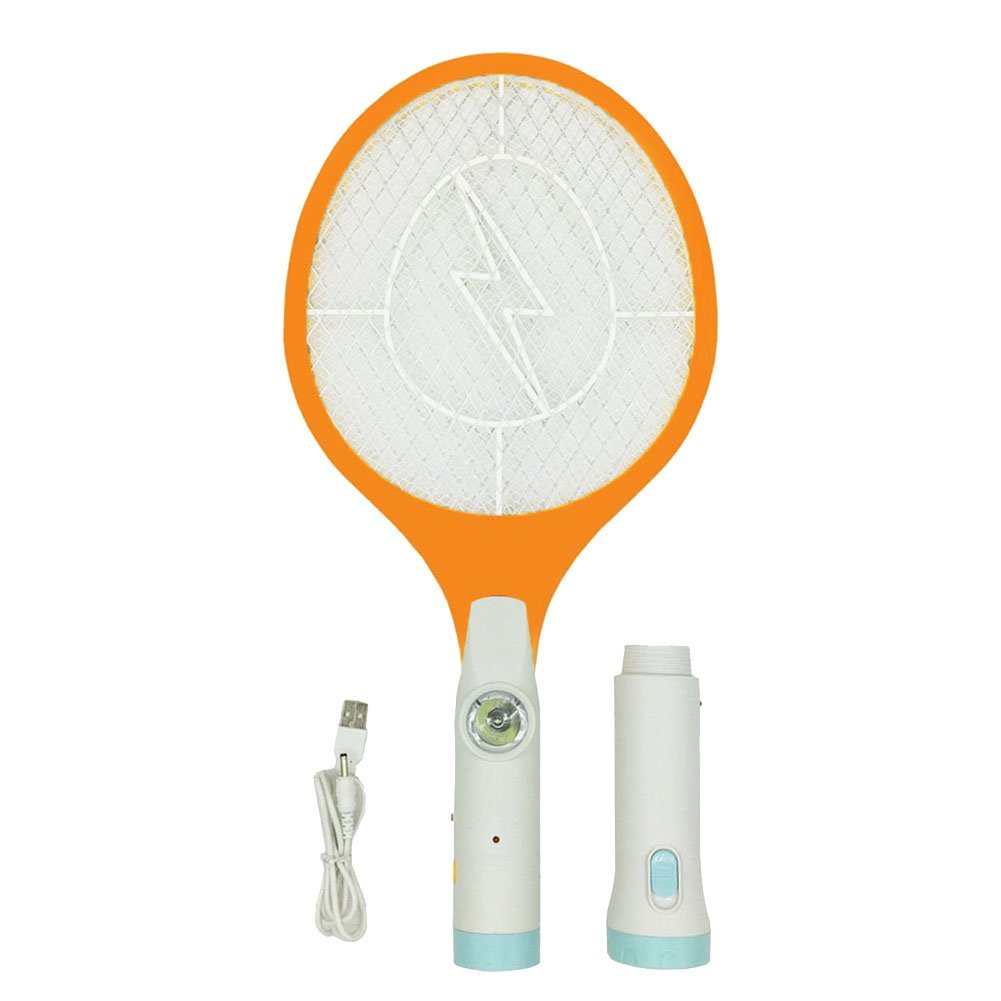 Buyplus Bug Zapper - Rechargeable Electric Fly Swatter, Mosquitoes Racket Killer, Insect Killer Racquet, 4000 Volt USB Charging, Super-Bright LED Light to Zap It in Dark, Safe to Touch, 3-LED Torch
