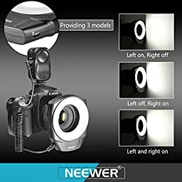 Neewer 48 Marco LED Ring Light with 6 Adapter Rings (49mm, 52mm, 55mm, 58mm, 62mm or 67mm) for Macro Canon/Nikon/Sony/Sigma/Tamron Lens