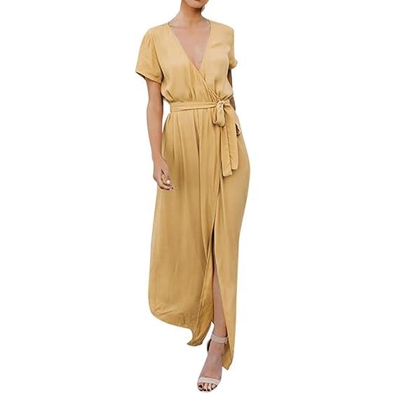 POLP Vestidos Largo ◉ω◉ Gasa Mujer Vestidos//Mujer Vestir Ropa//Mujer Sexy Falda Chaleco Camisetas//Blusa De Fiesta Mujer//Tops Mujer Verano//Manga Cortas ...