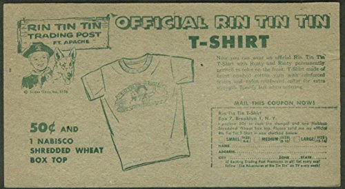 Nabisco card Official Rin Tin Tin T-Shirt offer 1956, used for sale  Delivered anywhere in USA