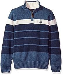 U.S. POLO ASSN. Little Boys\' Qtr Zip Striped Mock Neck Sweater, Denim Heather, XS