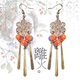 TKHNE | From fire handmade tassel earrings costume Asura Chinese classical Chinese clothing