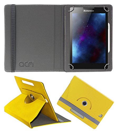 Acm Rotating Leather Flip Case Compatible with Lenovo Tab 2 A7 30hc Tablet Cover Stand Yellow