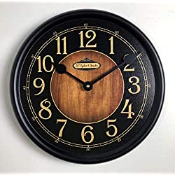 Black & Wood Wall Clock, Available in 8 Sizes, Most Sizes Ship 2-3 Days, Whisper Quiet.