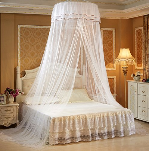 Home Cal Mosquito Bed Netting White,Round Top 2 layer Mosquito Net Bed Canopy Insect Net Protection with Hanging Kit from Home Cal