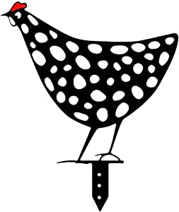 Playstyle Acrylic Chicken Yard Art Rooster Hen Silhouette Chicken Yard Stake Garden Floor Decor Ornament, Black Hollow Out Animal Shape Decor for Easter Outdoor Pathway Sidewalk Backyards (D)