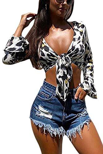 Una Bowknot al Leopardo Collo Raccolto V Massimo Magliette White Donna Zamtapary q1Xcgg
