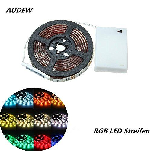 AUDEW RGB LED Strip Streifen 5050 SMD Licht Band Leiste Wasserdicht IP65 Batteriebetrieben 200CM