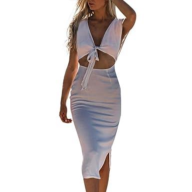 424850907c0 OHQ Robe Bustier à Encolure en V Café Blanc Noir Womens Deep Chic Taille  Courte Soiree