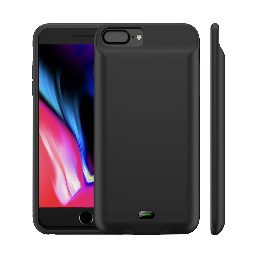 iPhone 8 Plus/7 Plus Battery Case, MAXBEAR 5000mAh Ultra Slim Rechargeable Extended Battery Pack Apple iPhone 6 Plus/6S Plus Charging Case iPhone 7 Plus,8 Plus Portable Power Bank-Black