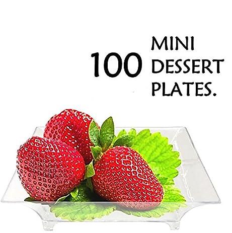 2.5u0026quot; Mini Clear Plastic Square Dessert Plates. Pack Includes 100 Tasting S&le Hors D  sc 1 st  Amazon.com & Amazon.com | 2.5