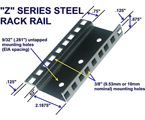 24U steel server rack rail with 3/8