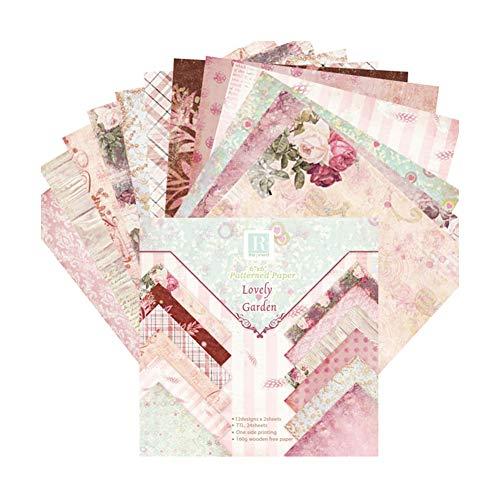 Unicoco Scrapbook Paper 24Sheet Floral Cardstock Paper Vintage Origami Paper DIY Album Scrapbook Card -
