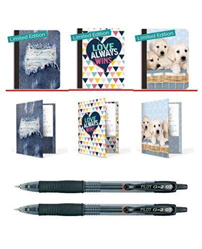 Book Sox Composition Books & Matching Folders With Pilot Retractable G-2 Pens 8-Piece Bundle | 3 Wide Ruled Paper Notebooks + 3 Folders + 2 Ink Roller Ball Writing Pens For School, College, Office by Book Sox + Pilot