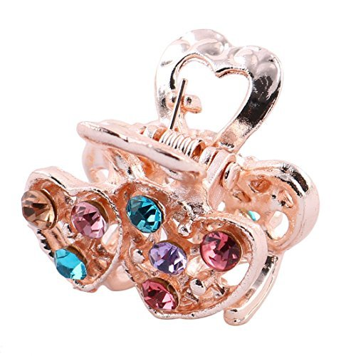 DealMux Women Faux Rhinestone Inlaid Double Hearts Shape Hair Claw Clamps Jaw Clip Multicolor