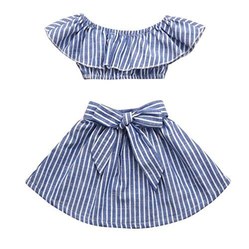 (2Pcs Toddler Baby Kids Girls Summer Ruffles Off Shoulder Cotton Striped Tops Bowknot Skirt Outfits Set (Blue, 4-5 T))