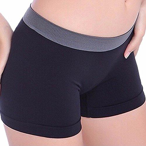 (Seamount New Women Sports Gym Waistband Skinny Yoga Shorts Pants Summer Sexy Casual Sports Shorts Pants Trouser (Black))