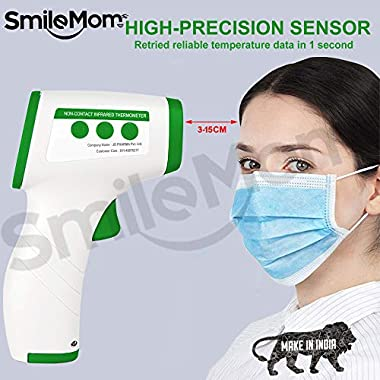 Smile Mom Digital Infrared Forehead Thermometer Gun for Fever, Body Temperature (Non Contact). Best for Kids, Adults. CE, ROHS, CNAS Certified 10