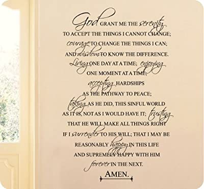 """36"""" FULL Serenity Prayer Religious God Grant Me Wall Decal Sticker Art Mural Home Décor Quote"""
