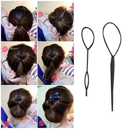 BFHCVDF Ponytail Creator Plastic Loop Styling Tools Black Topsy Pony Tail Hair Braid