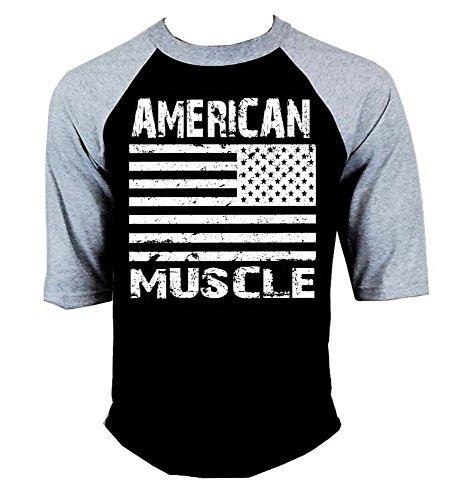 Interstate Apparel Inc American Muscle Workout Men's Baseball Raglan T-Shirt Gray/Black S-3XL
