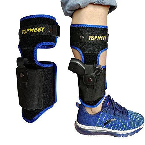 topmeet Ankle/Calf Holster for Concealed Carry,Pistol Holsters with Magazine Pocket fits Glock 21 22 27,Ruger Security 9,hk vp9,Sccy cpx-2,Sd9ve,Springfield xds,mp Shield 9mm, Walther pps m2 m1,Blue (Laser Pistol Grips Ruger Lcr)