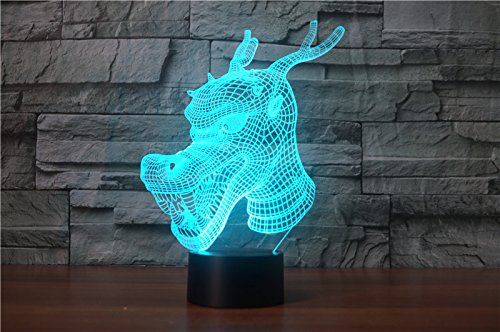 3D Chinese Dragon Night Light Animal Table Desk Optical Illusion Lamps 7 Color Changing Lights LED Table Lamp Xmas Home Love Brithday Children Kids Decor Toy Gift by MOLLY HIESON