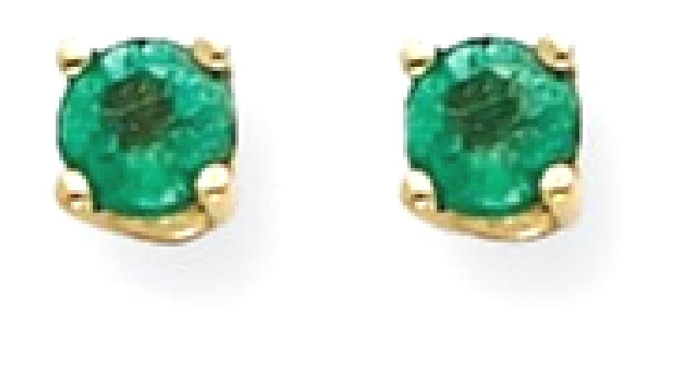 ICE CARATS 14k Yellow Gold Green Emerald Post Stud Ball Button Earrings Gemstone Fine Jewelry Gift Set For Women Heart