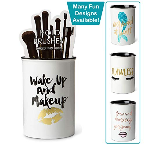 "Tri-coastal Design Ceramic Makeup Brush Holder Storage ""Wake Up and Makeup"" Cosmetic Organizer for Make Up Brushes and Accessories – Round White Cosmetics Cup for Bathroom Vanity Countertop"