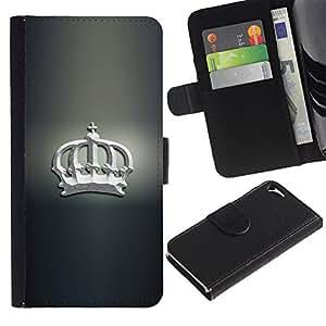 JackGot ( Blanca Corona ) Apple iPhone 5 / iPhone 5S la tarjeta de Crédito Slots PU Funda de cuero Monedero caso cubierta de piel