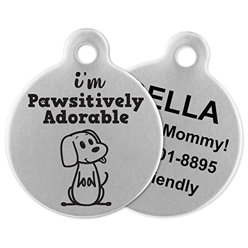 - If It Barks - Engraved Pet ID Tags for Dogs - Personalized Stainless Steel Identification Tags - Custom Name Tag Attachment - Made in USA, I'm Pawsitively Adorable