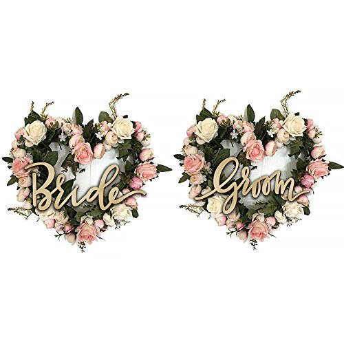 (cyclamen9 2PCS Artificial Wreath Vintage Art Simulation Rose Flowers Wreath Pink Heart-shaped Garland for Home Wedding Decoration with Groom Bride(38cm20cm0.5cm,Tree Yellow))