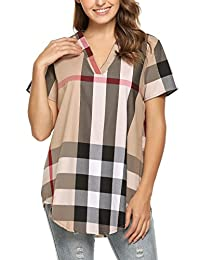 Meaneor Women Plus Size Summer V Neck Short Sleeve Casual Plaid Tunic Top Blouse