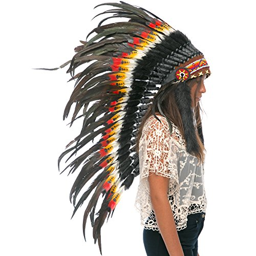 Long Feather Headdress- Native American Indian Inspired- Handmade Halloween Costume for Men Women with Real Feathers - Double Feather Multicolor