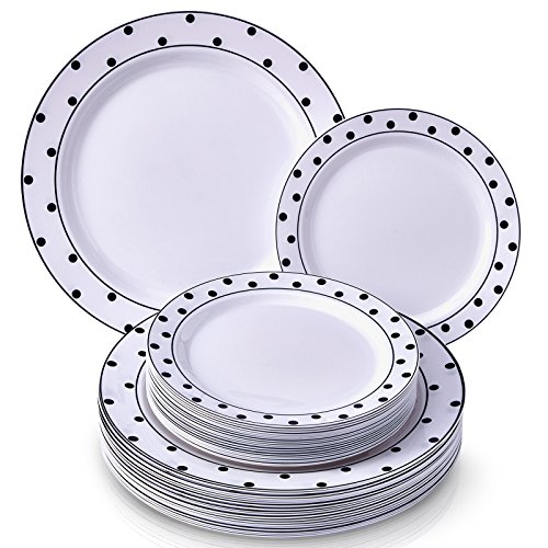 PARTY DISPOSABLE 240 PC DINNERWARE SET | 120 Dinner Plates | 120 Dessert Plates | Heavy Duty Plastic Dishes | Elegant Fine China Look | for Upscale Wedding and Dining (Dots-Black/White)