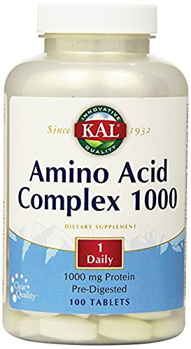 KAL Amino Acid Complex Tablets, 1000 mg, 100 Count (Predigested Amino Acids)