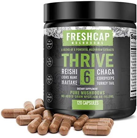 Thrive 6 Mushroom Complex – 120 Capsules – Lion s Mane, Reishi, Cordyceps, Chaga, Turkey Tail, Maitake – Supplement – Real Fruiting Body – No Fillers