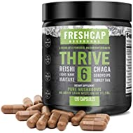 Thrive 6 Mushroom Complex - 120 Capsules - Lion's Mane, Reishi, Cordyceps, Chaga, Turkey Tail, Maitake - Supplement - Real Fruiting Body - No Fillers