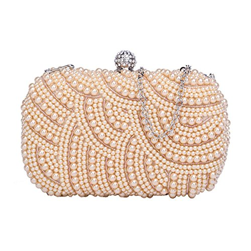 Champagne block wedding pearl clutchparty HOTSTYLEZONE classy handmade bag Ladies wC7q87